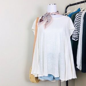 Free People Oversized Linen Blend Flowy Tee